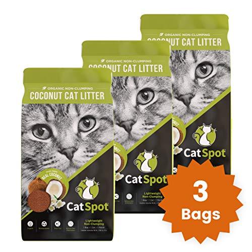 CatSpot Litter, Non-Clumping Formula: Coconut Cat Litter, Biodegradable, All-Natural, Lightweight & Dust-Free (3 Bags)