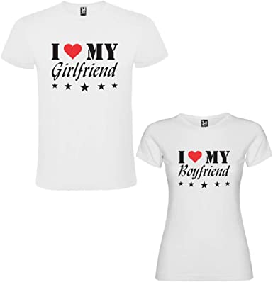 Pack de 2 Camisetas Blancas para Parejas, I Love My Girlfriend y I Love My Boyfriend Negro/Rojo: Amazon.es: Ropa y accesorios