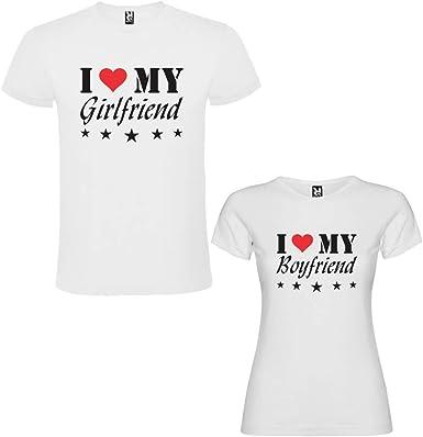 Pack de 2 Camisetas Blancas para Parejas, I Love My Girlfriend y I ...