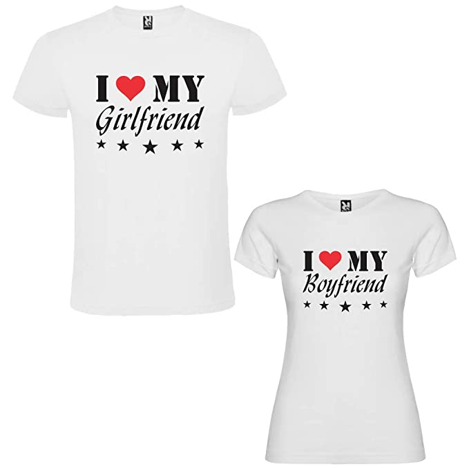 Pack de 2 Camisetas Blancas para Parejas I Love My Girlfriend y I Love My Boyfriend