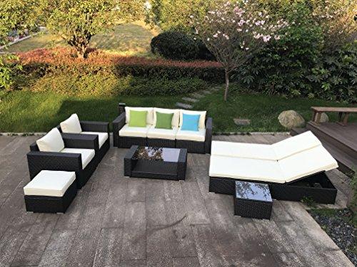 Do4U 10pcs Outdoor Patio Garden Rattan Wicker Sofa Set Sectional Furniture Set (Brown Rattan + Beige Cushion) (Corner Rattan Garden Furniture)