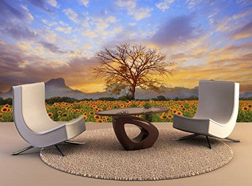tapiz de pared hermoso paisaje rama del árbol seco Sun Flowers campo contra Colorida tarde areneros Sky utiliza como telón...