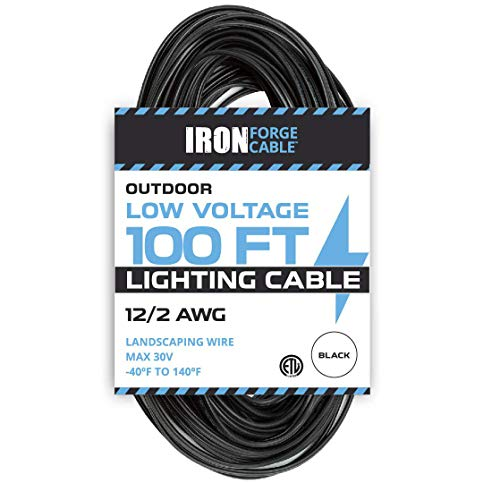 12 Pack Wire - 12/2 Low Voltage Landscape Wire - 100ft Outdoor Low-Voltage Cable for Landscape Lighting, Black