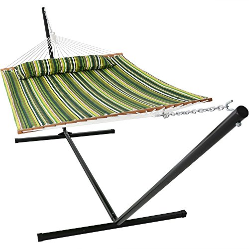 Sunnydaze 2 Person Freestanding Quilted Fabric Spreader Bar Hammock with 15-Foot Stand-Includes Detachable Pillow, 400 Pound Capacity, Melon Stripe
