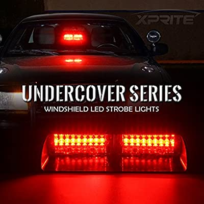 Xprite Red 16 LED Law Enforcement Emergency Strobe Lights with Suction Cups, Firefighters Hazard Warning Light for Interior Roof/Dash/Windshield: Automotive