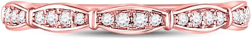 Jewels By Lux 10kt Rose Gold Womens Round Diamond Stackable Band Ring 1//8 Cttw In Pave Setting I2-I3 clarity; I-J color