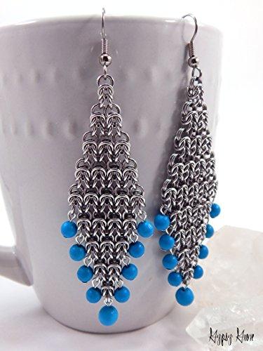 Byzantine Diamond Earrings - Byzantine Diamond Chainmaille Earrings