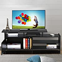 go2buy Black TV Stand Console Table Home Entertainment Center Armoire Media Cabinets for 50 Inch Flat Screen
