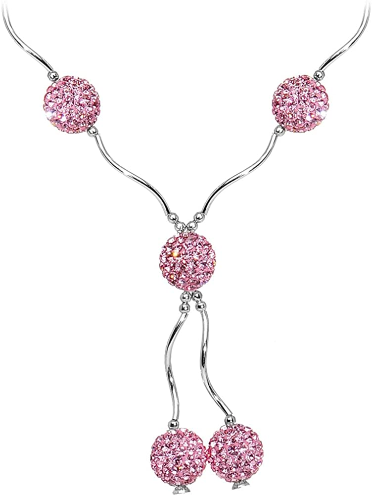 Body Candy 925 Sterling Silver Pink Crystal Ball Necklace 18 Inches
