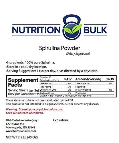 Nutrition Bulk Spirulina Powder, 5 lb Bulk, Resealable Bag, Natural Green Superfood. by CAP Nutra