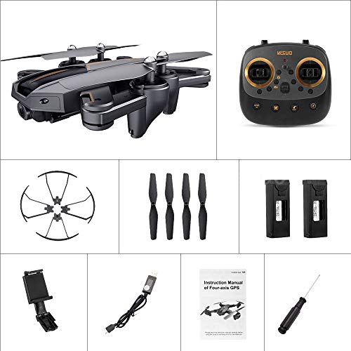 MOZATE VISUO XS812 GPS 5G WiFi FPV 5MP 1080P Wide Angle HD Camera Foldable RC Quadcopter Drone + Two Battery (Black, A) by MOZATE (Image #4)