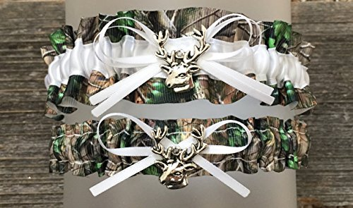 Camouflage White Satin Camo Wedding Bridal Garter SET - Deer Head -