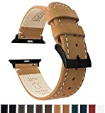 BARTON Leather Watch Bands for Apple Watch - Black Hardware for 42mm & 38mm -Gingerbread Leather & Linen White Stitching