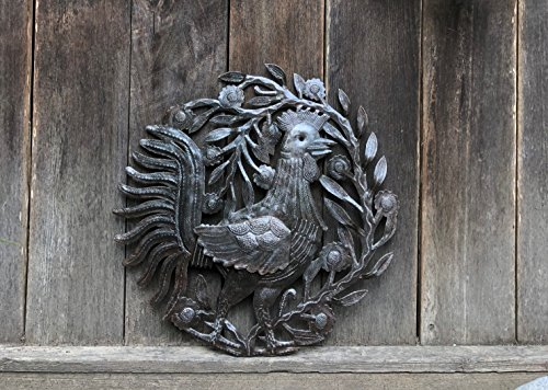 Metal Rooster, Country Kitchen Wall Art, Sturdy Artistic Design from Haiti 15.5'' X 15.75'' by it's cactus - metal art haiti (Image #4)