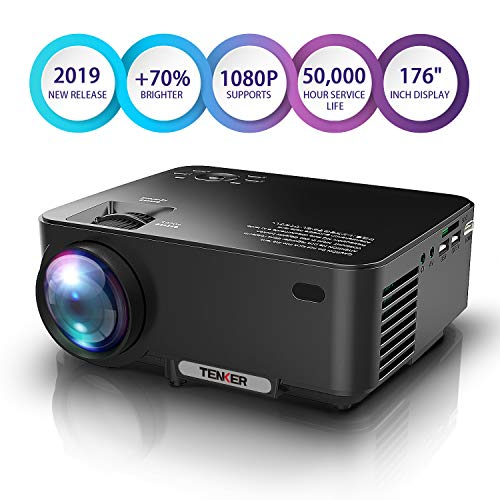 TENKER Upgrade Lumens Mini Projector, with Big Display LED Full HD Video Projector, Compatible with 1080P HDMI, Fire TV Stick, VGA, USB, AV for Home Theater Entertainment, Party and Games (Black) from TENKER
