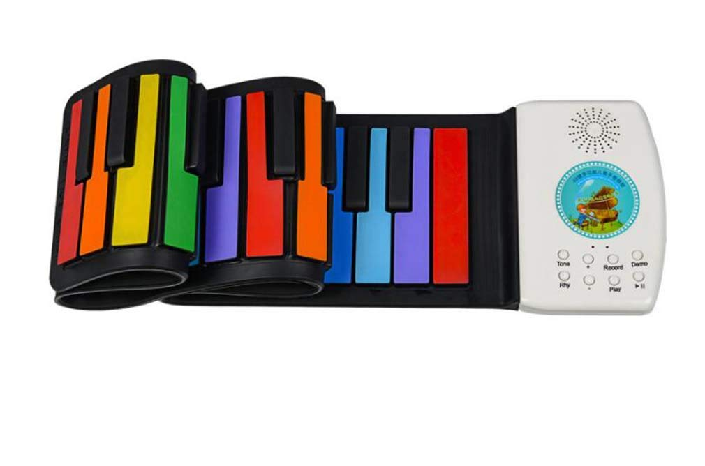 CE-LXYYD 49-Key Folding Piano, Thick Waterproof and Rechargeable Portable Color Electronic Piano, Suitable for Beginners, Best Gift for Children,Color