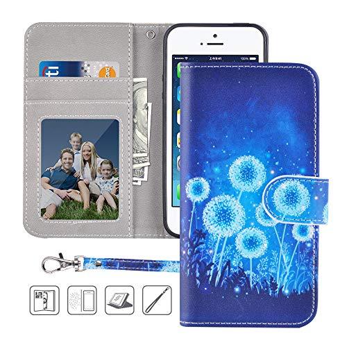 iPhone 5S Wallet Case,iPhone 5 Wallet Case,iPhone SE Wallet Case,MagicSky Premium PU Leather Flip Folio Case Cover with Wrist Strap,Card Slots,Cash Pocket,Kickstand for Apple iPhone 5S/5/SE(Dandelion)
