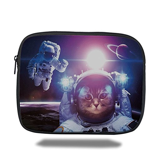 iPrint iPad Bag,Space Cat,Astronauts in Nebula Galaxy with Eclipse in Saturn Planets Image,Dark Blue White and Purple,Bag