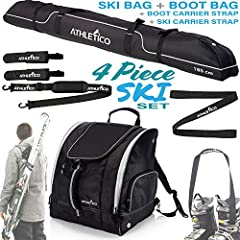 "4 Piece Diamond Trail Ski Bundle, includes: Padded Ski Bag, black: fits 1 pair of skis + poles, available in 170 or 185 cm Carry-All Ski Boot Backpack, black: dimensions - 18 x 15 x 15"" [46 x 38 x 38 cm] Ski Carrier Straps: simple solution fo..."