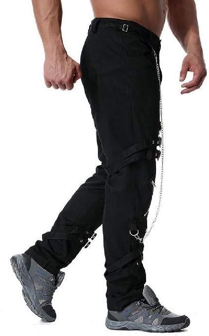 Wofupowga Mens Solid Color Slim Fit Jogging Elastic Waist Sports Pants Black XS