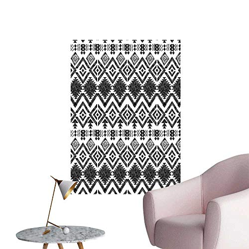Modern Decor Hand Drawn Tribal Pattern Geometric and Decorative Aztec Design Print Black and White Ideal Kids Decor or Adults,12