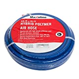 Hybrid Polymer Air Hose, 3/8inch x 25FT, 1/4in. MNPT Brass Ends fittings, 300 PSI,Non-Kinking, Lightweight and Soft,Compressor Hose Blue