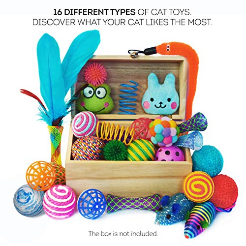Cowfish Cat Toys Kitten Toys Assortments, 27PCS Variety Toy Set Including Cat Feather Teaser Wand, Feather Toys, Mice, Catnip Toys, Colorful Balls, Bells for Cat, Kitty, Kitten 4