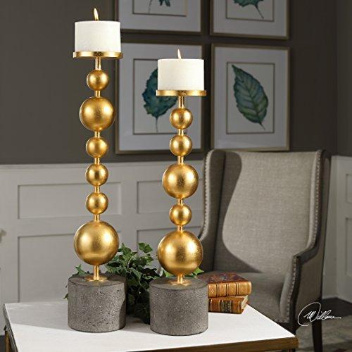 Stacked Gold Spheres Pillar Candle Holder Set Mid Century Modern Metal Concrete