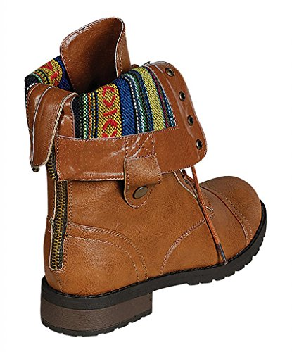 Refresh Terra-06 womens military lace up tribal strips cuffed collar low heel combat boots Camel Zw74O