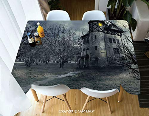 Vinyl tablecloth Halloween Design with Gothic Haunted House Dark Sky and Leafless Trees Spooky Theme Decorative (60 X 84 inch) Great for Buffet Table, Parties, Holiday Dinner, Wedding & More.Desktop -