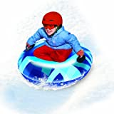 Pipeline Sno Single Rider Winter Inflatable Round Snow Tube Sled with 2 Big Grip Handles and Repair Kit, 32-Inch
