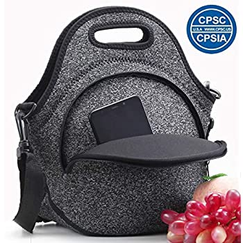 Neoprene Lunch Tote,Insulated Lunch Bag with Shoulder Strap Reusable Foldable Lunch Box with Extra Pocket Handbags Tote for Woman Men Teens Boys Girls Kids Outdoor Work/Picnic/Travel(Greyblack)