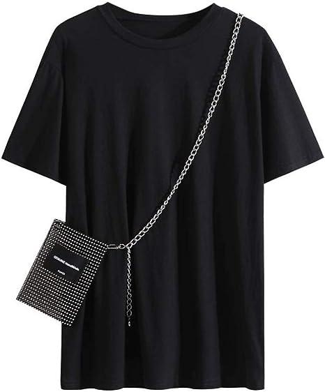 O&YQ Camiseta de Manga Corta para Mujer Verano Suelta con Bolsa de Diamantes de Alta Resistencia Camisa Negra para Mujer, Negro, SG: Amazon.es: Deportes y aire libre