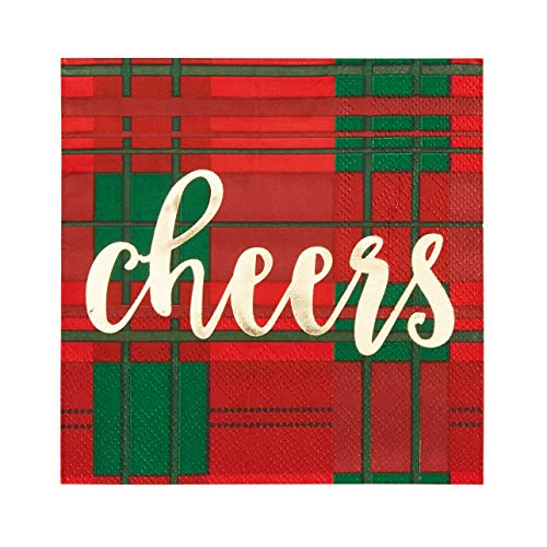Cocktail Napkins - 50-Pack Disposable Paper Napkins, Christmas Holidays Dinner Party Supplies, 3-Ply, Red and Green Plaid with Gold Foil Design, Unfolded 10 x 10 Inches, Folded 5 x 5 -