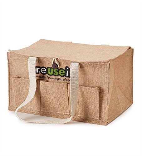 reuseit Jute Grocery Cart Organizer Bag with sturdy Cotton handles