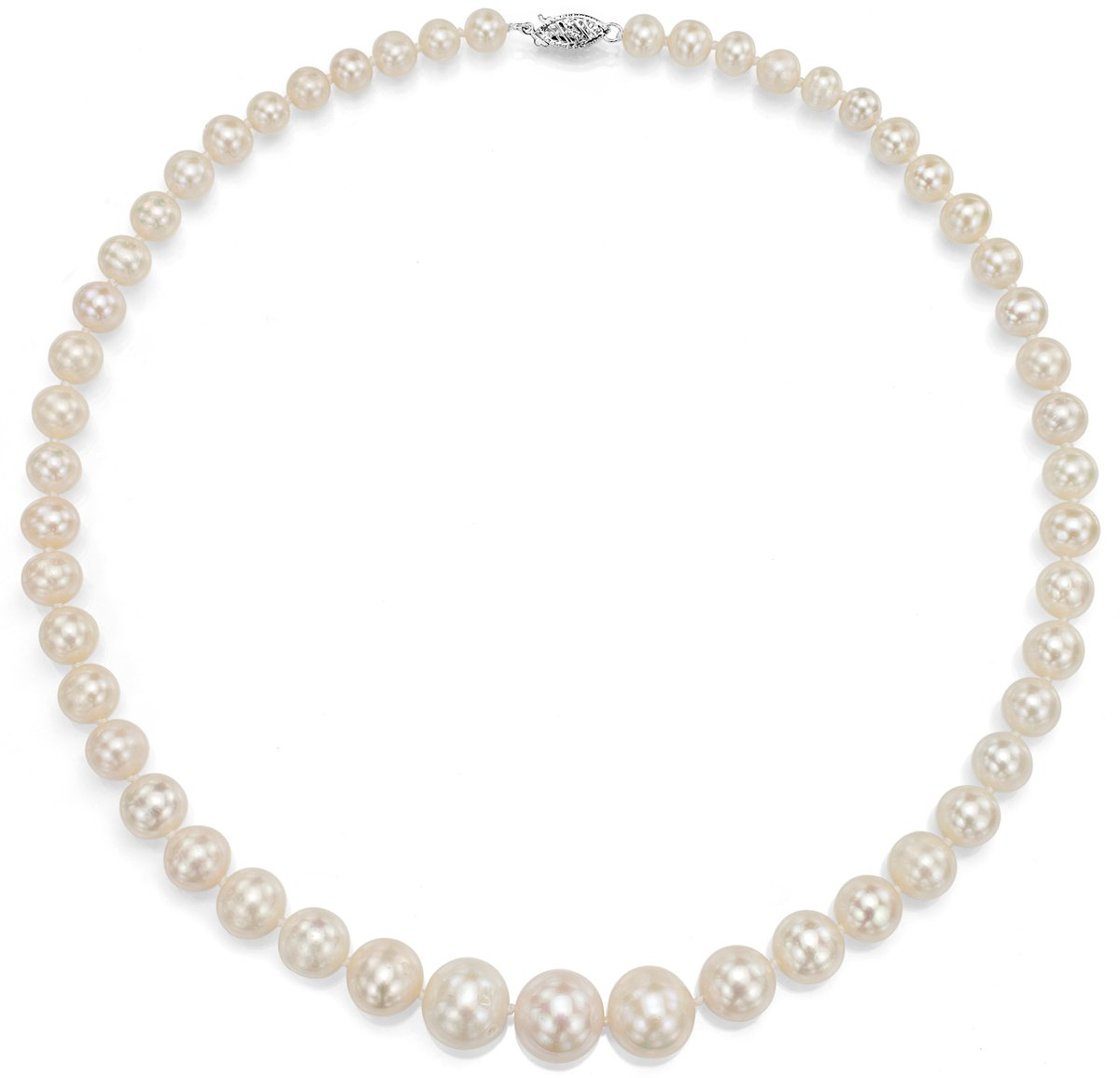14K White Gold White Cultured Freshwater Pearl Necklace Bridal Jewelry Graduated 6-11mm 18 inch