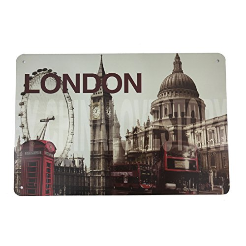 Halloween Accessories London (12x8 Inches Pub,bar,beverage,beer Series Wall Decor Hanging Metal Tin Sign Plaque (London 2))