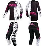O'Neal Element Women Shred Pink motocross MX off-road dirt bike Jersey Pants combo riding gear set (Pants Women 5/6/Jersey Small)