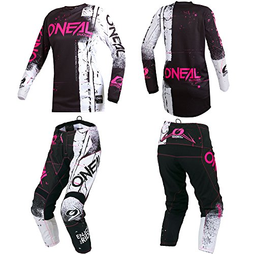 Youth Kids Mx Motocross Jersey - O'Neal Element Shred Pink Kids/Youth motocross MX off-road dirt bike Jersey Pants combo riding gear set (Pants 12/14 (26)/Jersey Kids X-Large)