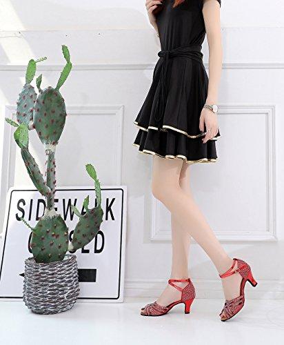 6cm MinishionUS Red Minitoo Femme Heel QJ7152 de Salon Danse ad1B0q1g