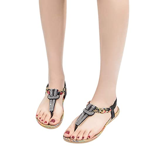 1e91cc06bfb Amazon.com  BSGSH Thong Sandals for Women Ankle Strap Rhinestone Slingback  T-Strap Flip Flop  Clothing