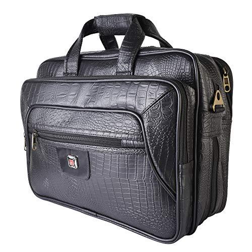 Da Tasche Expandable Designer Faux Leather Laptop Messenger Bag