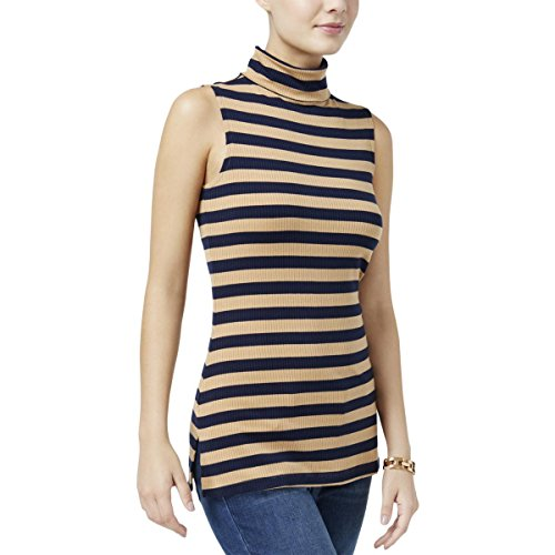 Tommy Hilfiger Womens Turtleneck Striped Casual Top Taupe - Outlet Sale Tommy
