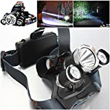 Perfect Popular 3x LED 5000 Lumen Headlamp Waterproof Rechargeable Aluminum Color Black