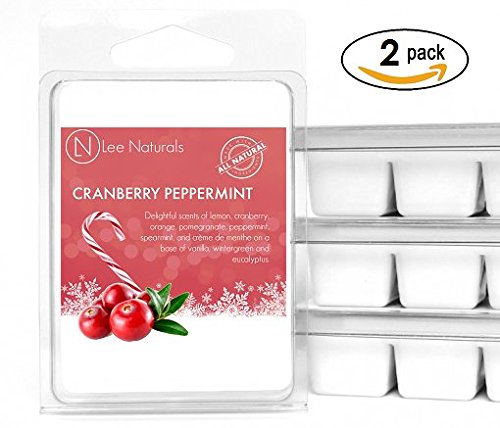Scented Candle Tarts (Lee Naturals Winter & Holiday - (2 Pack) CRANBERRY PEPPERMINT Premium All Natural 6-Piece Soy Wax Melts. Hand Poured Naturally Strong Scented Soy Wax Cubes)