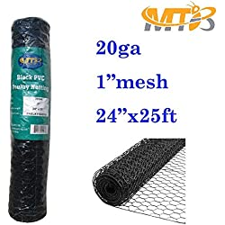 "MTB Black PVC Hexagonal Poultry Netting, Chicken Wire 24""x25'-1"" 20GA (Also Sold in 50'/150'Length)"