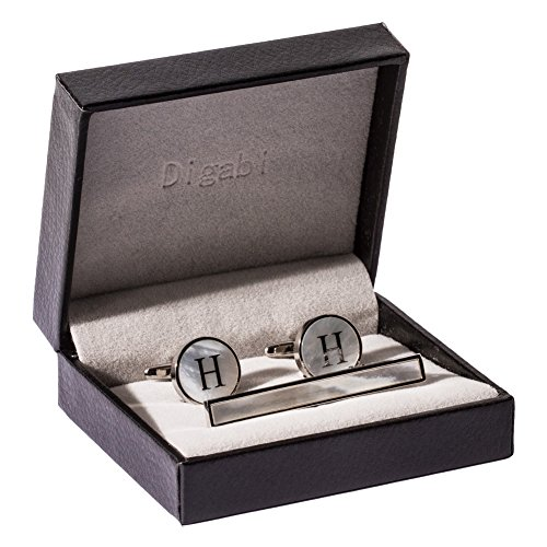 Digabi Platinum Plated 18K Rectangular Mother of Pearl Tie Clip and Initial Letter Cufflinks Set with Nice Box (Silver - Pearl Link Mother Of Cufflinks