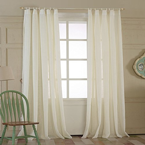 Ivory White Curtains Nature Linen Drapes – KoTing 1 Panel Linen Cotton Ivory White Curtains for Living Room Plain Top 50Wx63 L Inches