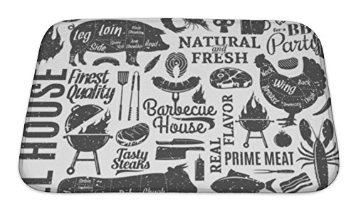 Imported Crab Meat - Gear New Bath Mat For Bathroom, Memory Foam Non Slip, Retro Styled Typographic Barbecue Pattern Or, 24x17, 6595690GN
