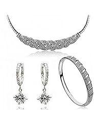 Fancy Popular Luxury Waltz Sliver White Crystal Jewelry Set Necklace & Bracelet & Earrings Jm2145